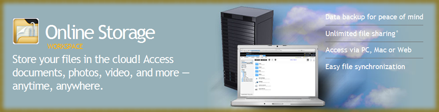 Online Storage lets you store your files in the cloud! Access documents, photos, video, and more.